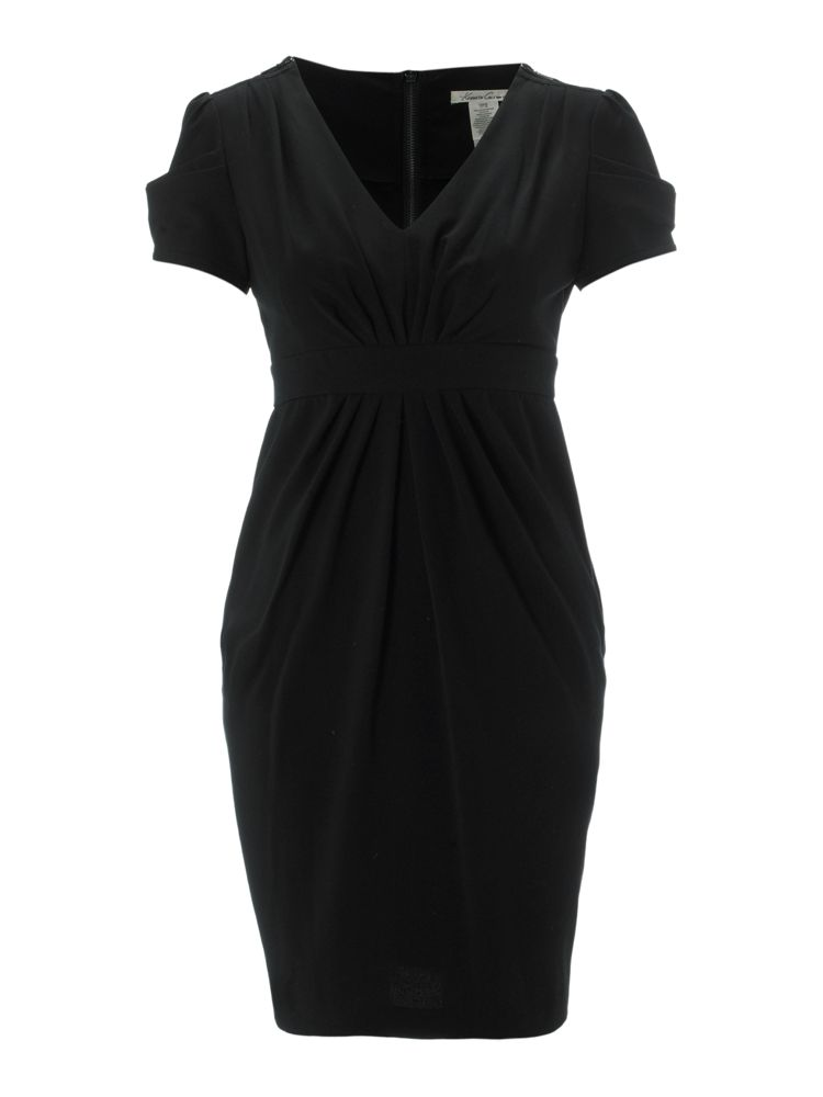 Kenneth-Cole-Ruched-Sleeve-Shift-Dress-In-Black-From-House-of-Fraser