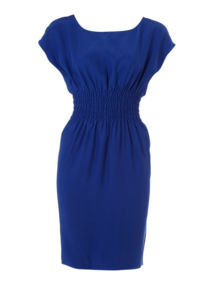 Kenneth-Cole-Smocked-Waist-Detail-Silk-Dress-In-Blue