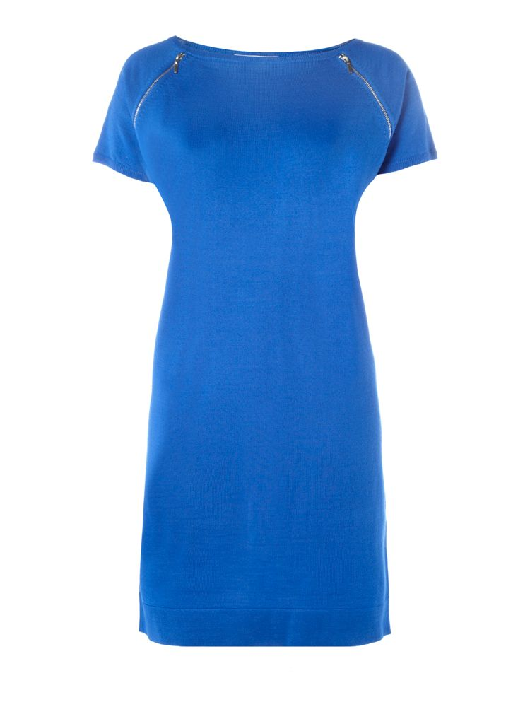 Kenneth-Cole-Knitted-Zip-Detail-Dress-In-Blue