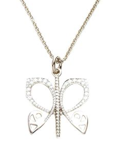 White gold and diamond butterfly pendant