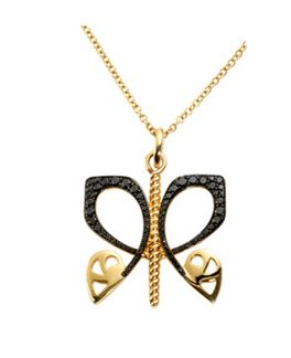Biba Gold and black diamond butterfly pendant