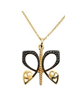 Gold and black diamond butterfly pendant