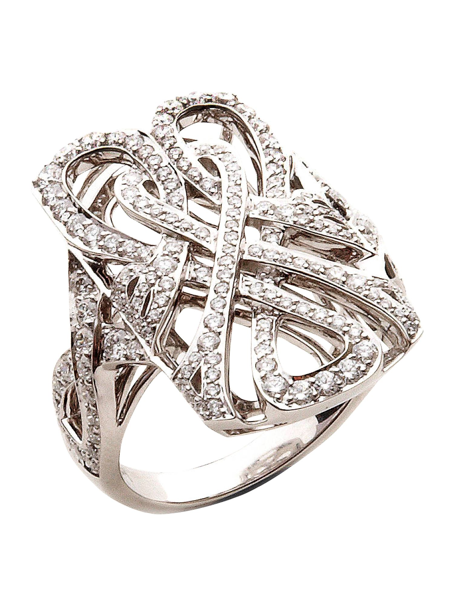 White gold and diamond logo filigree ring
