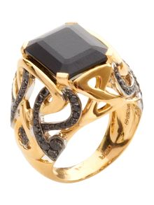 Gold and black diamond spinel stone ring