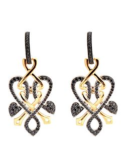 Gold and black diamond heart twist drop earrings
