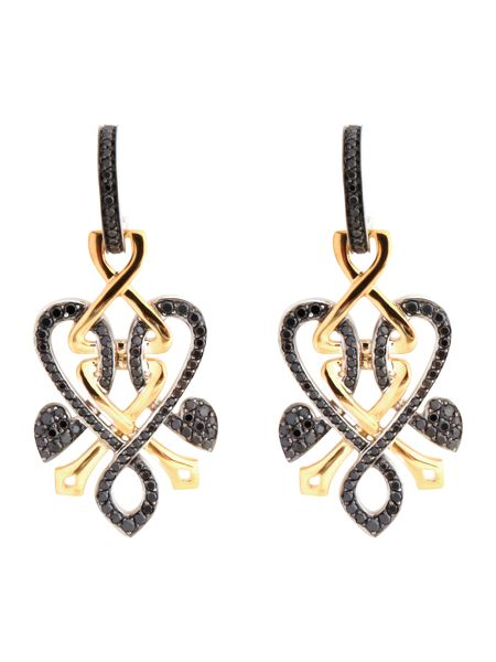 Biba Gold and black diamond heart twist drop earrings