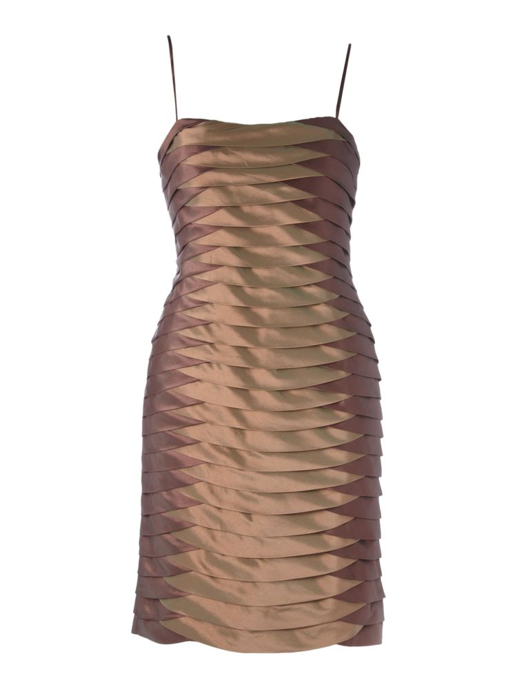 JS-Collections-Satin-Panelled-Tulip-Hem-Dress-In-Brown
