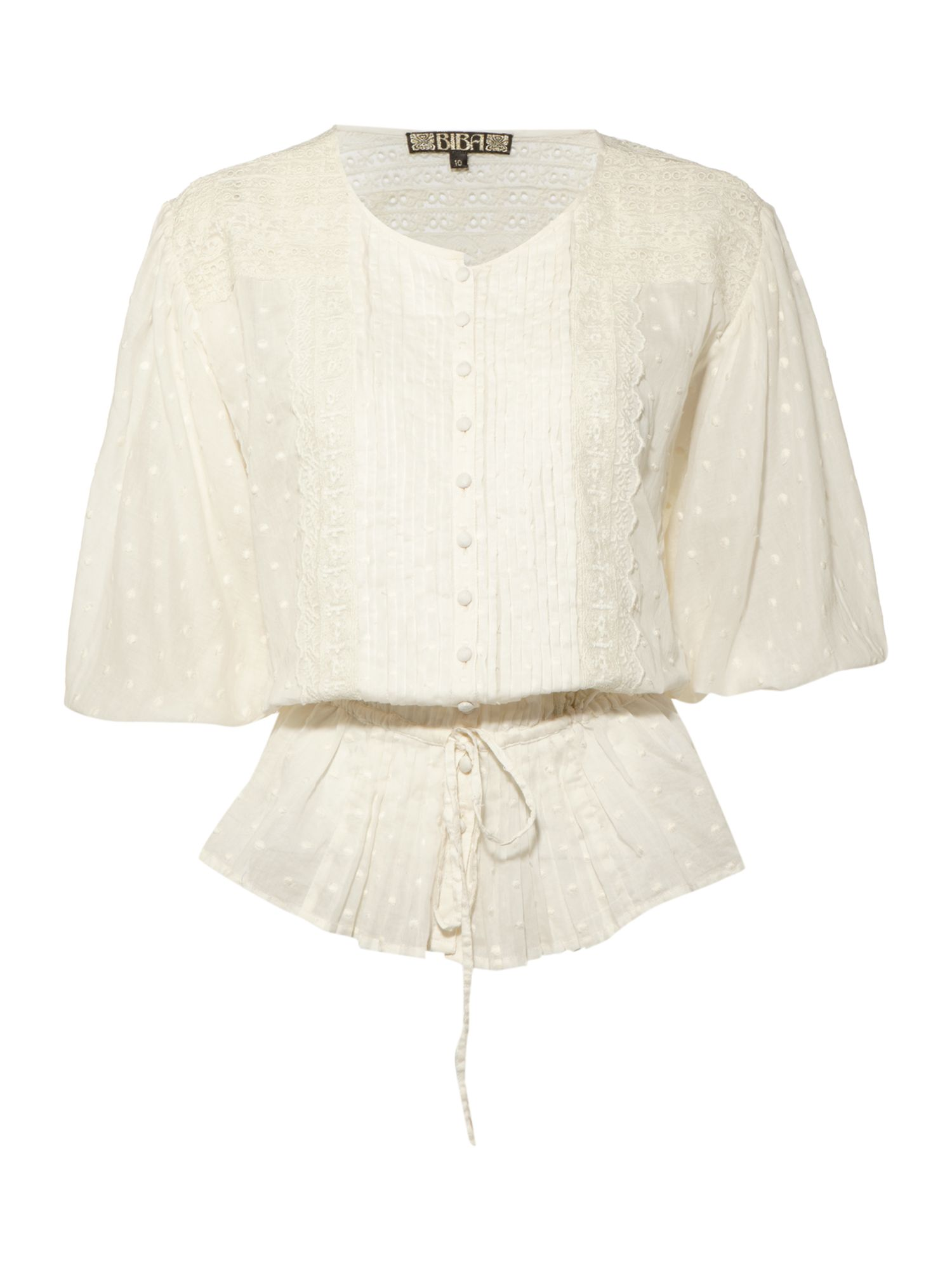 Lace and embroidery batwing sleeves blouse - Off