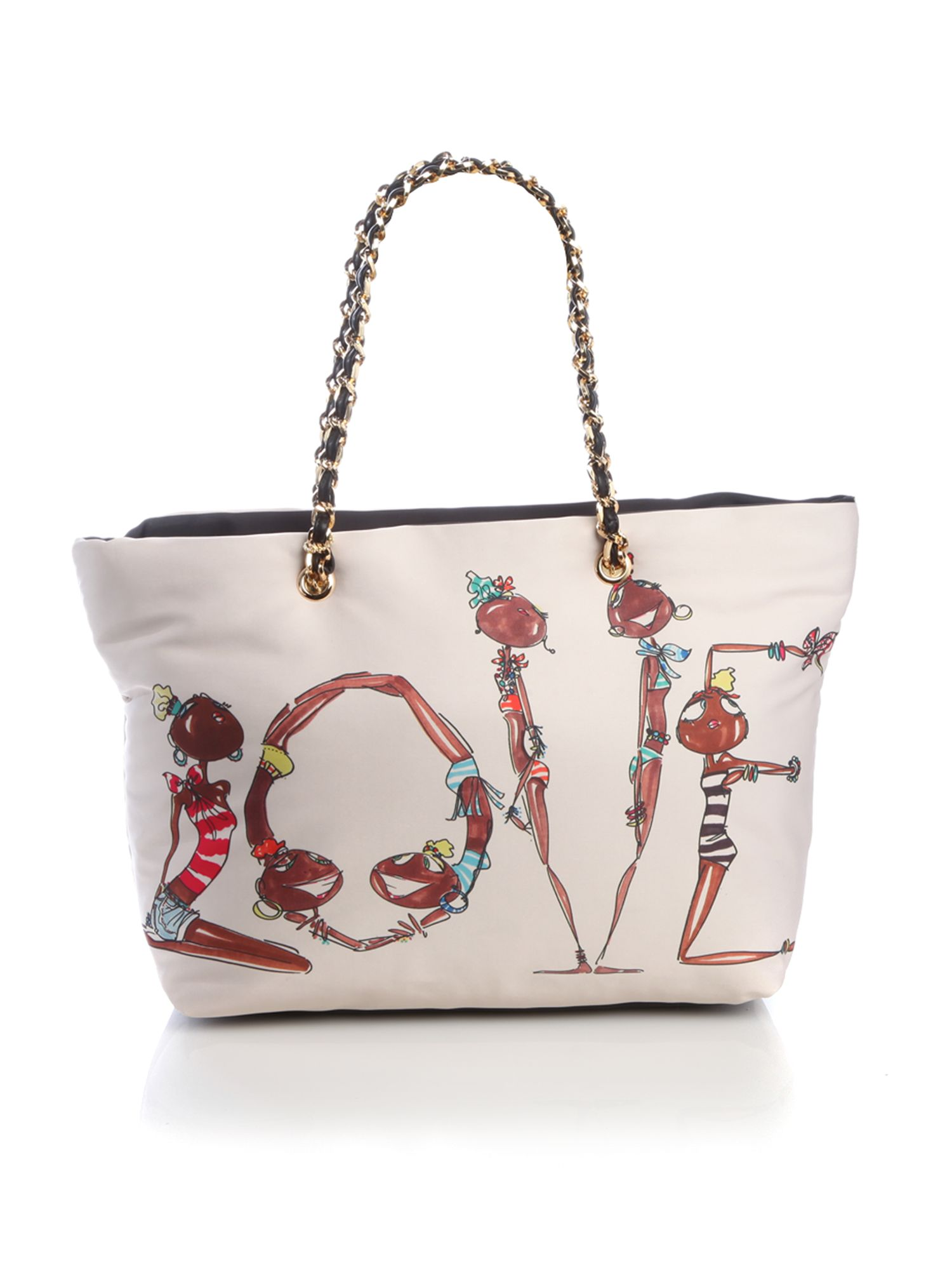 cashback charming five girls motif large shopper tote bag by love moschino. Black Bedroom Furniture Sets. Home Design Ideas
