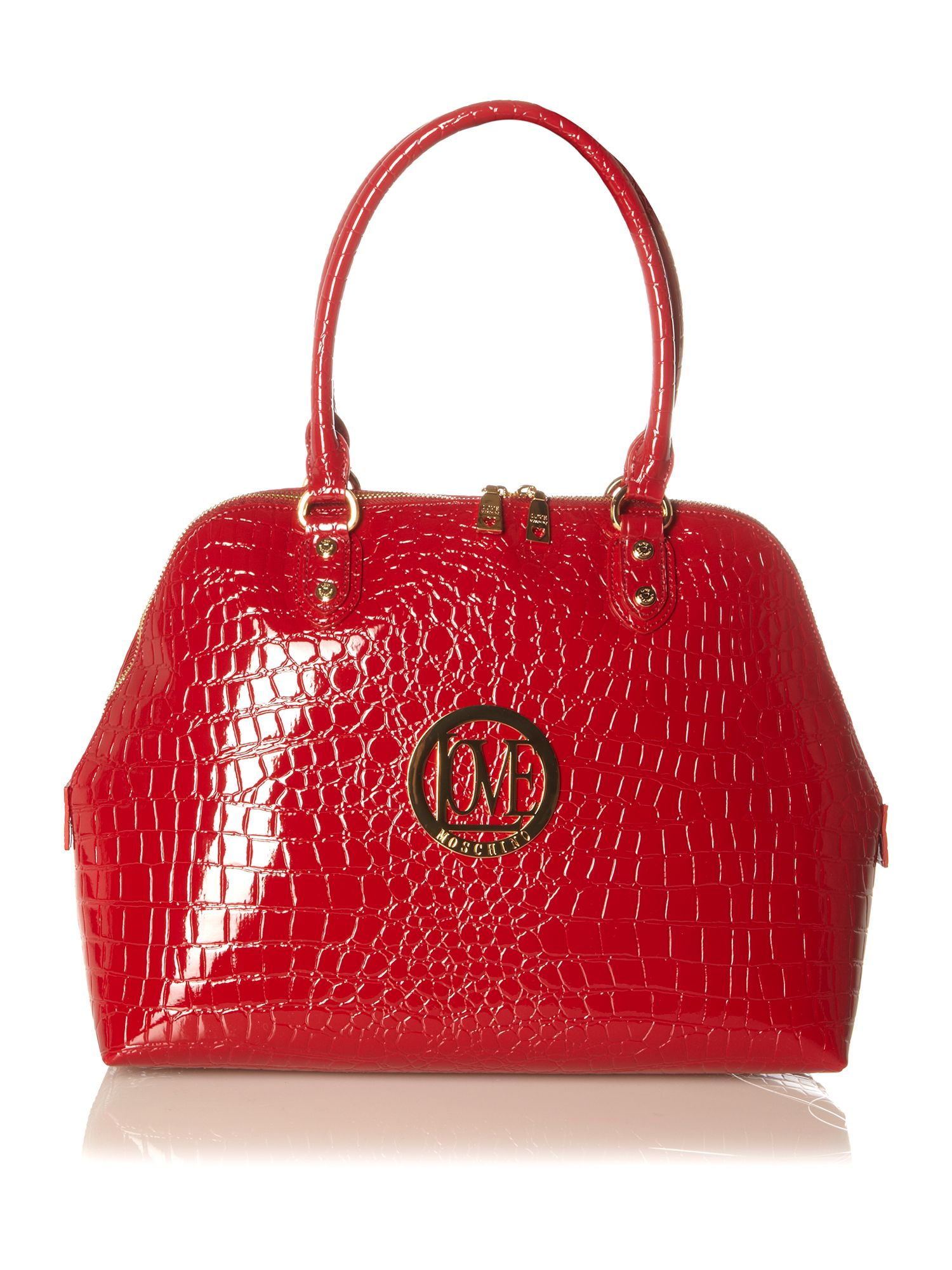 cashback croc me up large dome bowling bag by love moschino. Black Bedroom Furniture Sets. Home Design Ideas