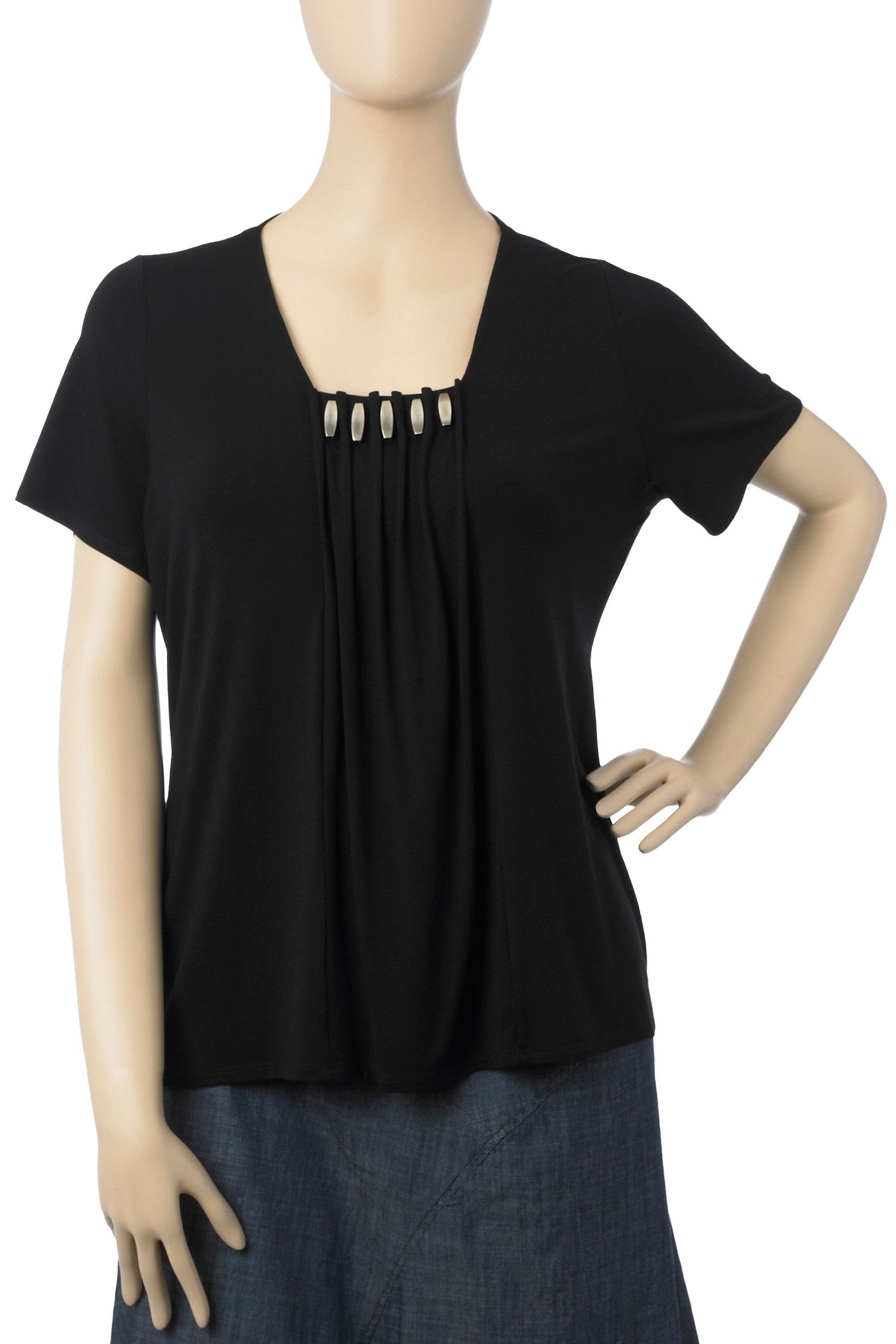 Ann Harvey Pleat beaded top Black