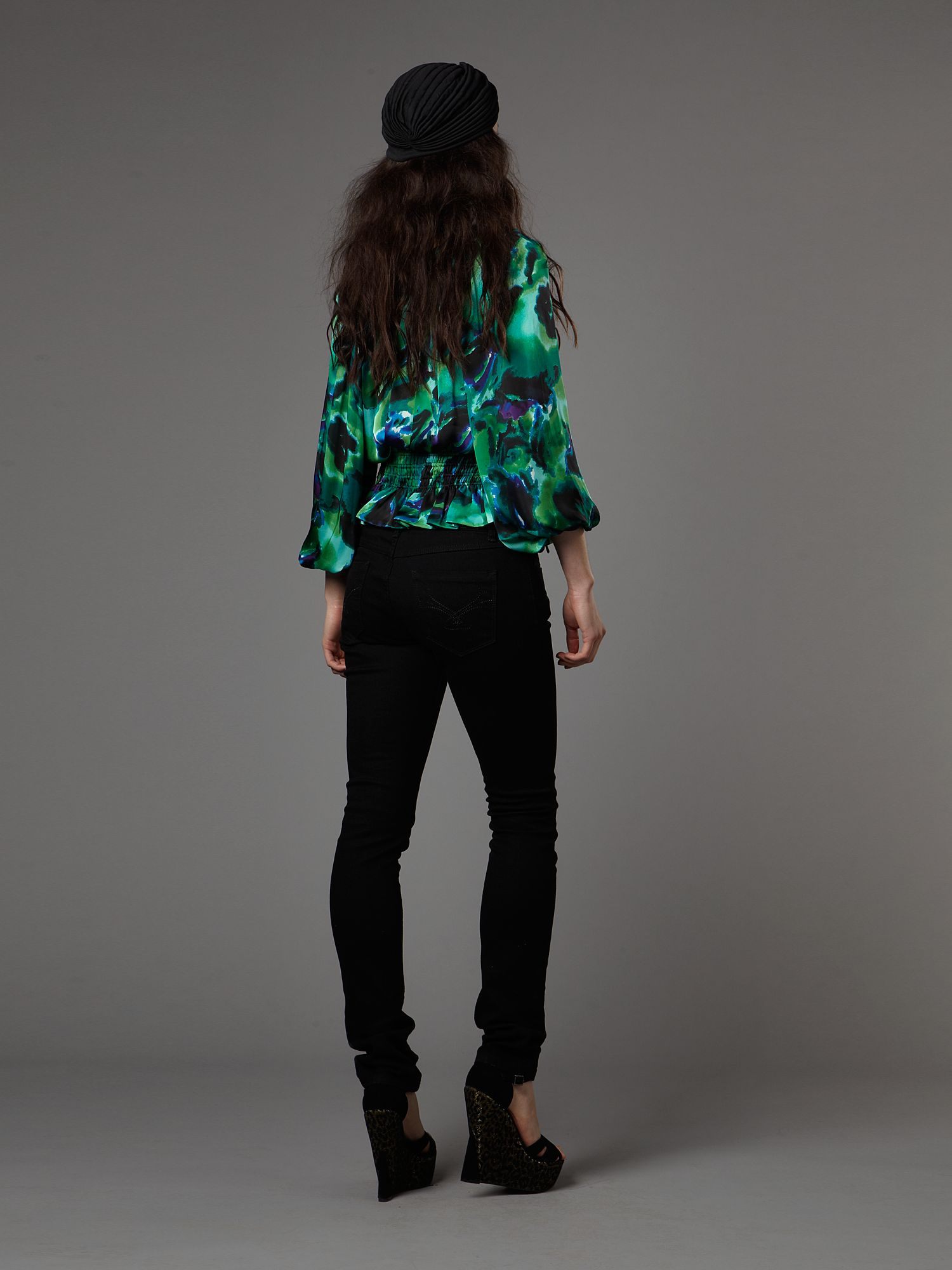 Abstract print peasant blouse Multi-Coloured