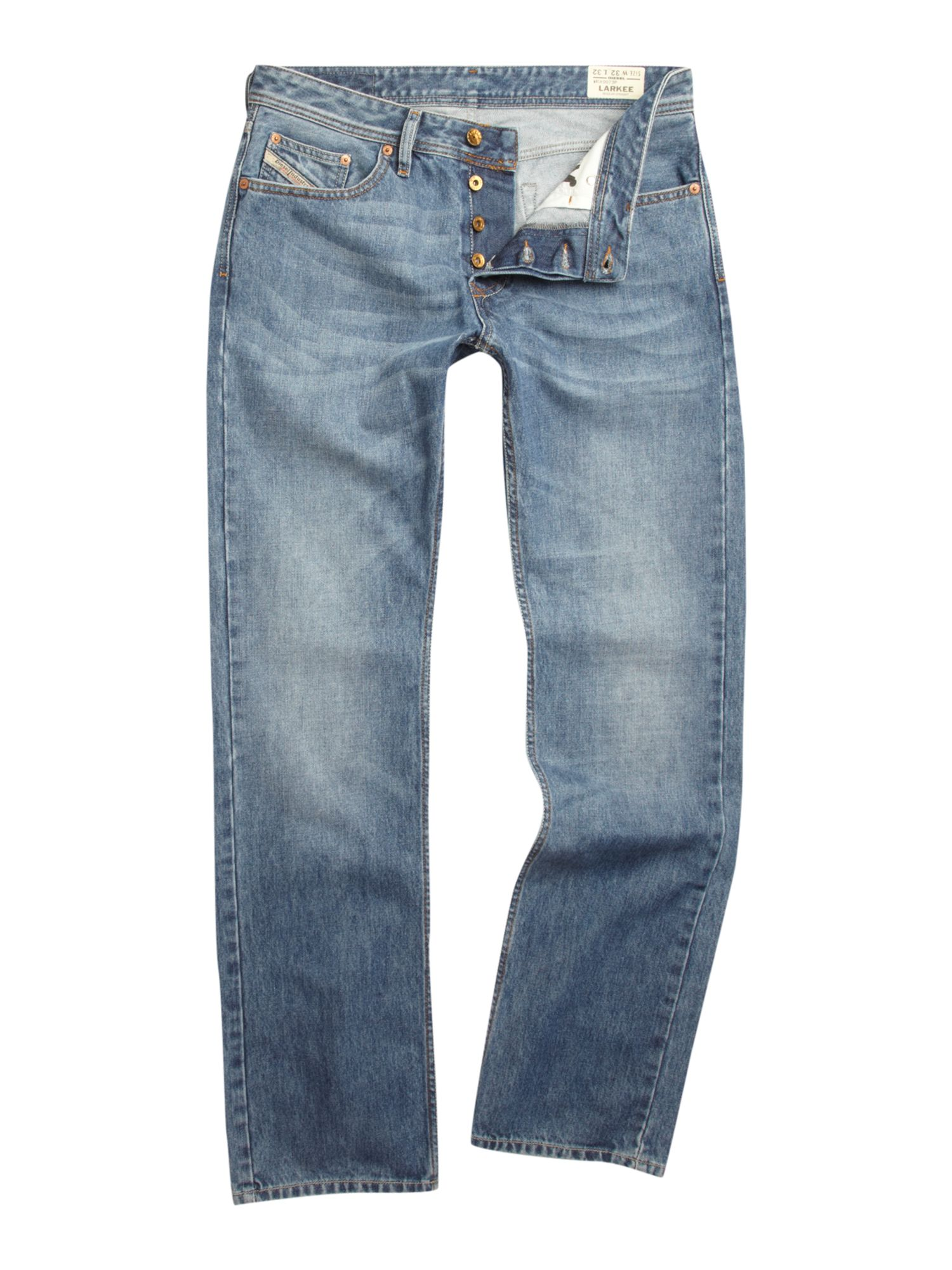 Larkee 73P Mid Wash Straight Jeans