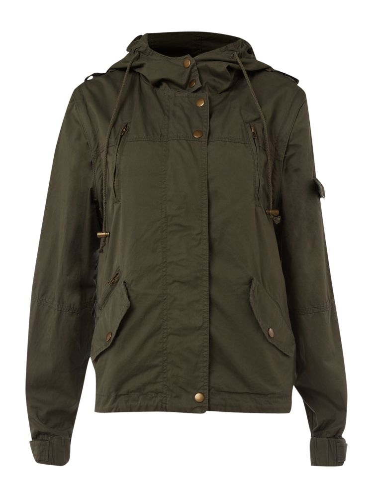 Therapy-Detachable-Sleeve-Parka-Jacket-In-Khaki