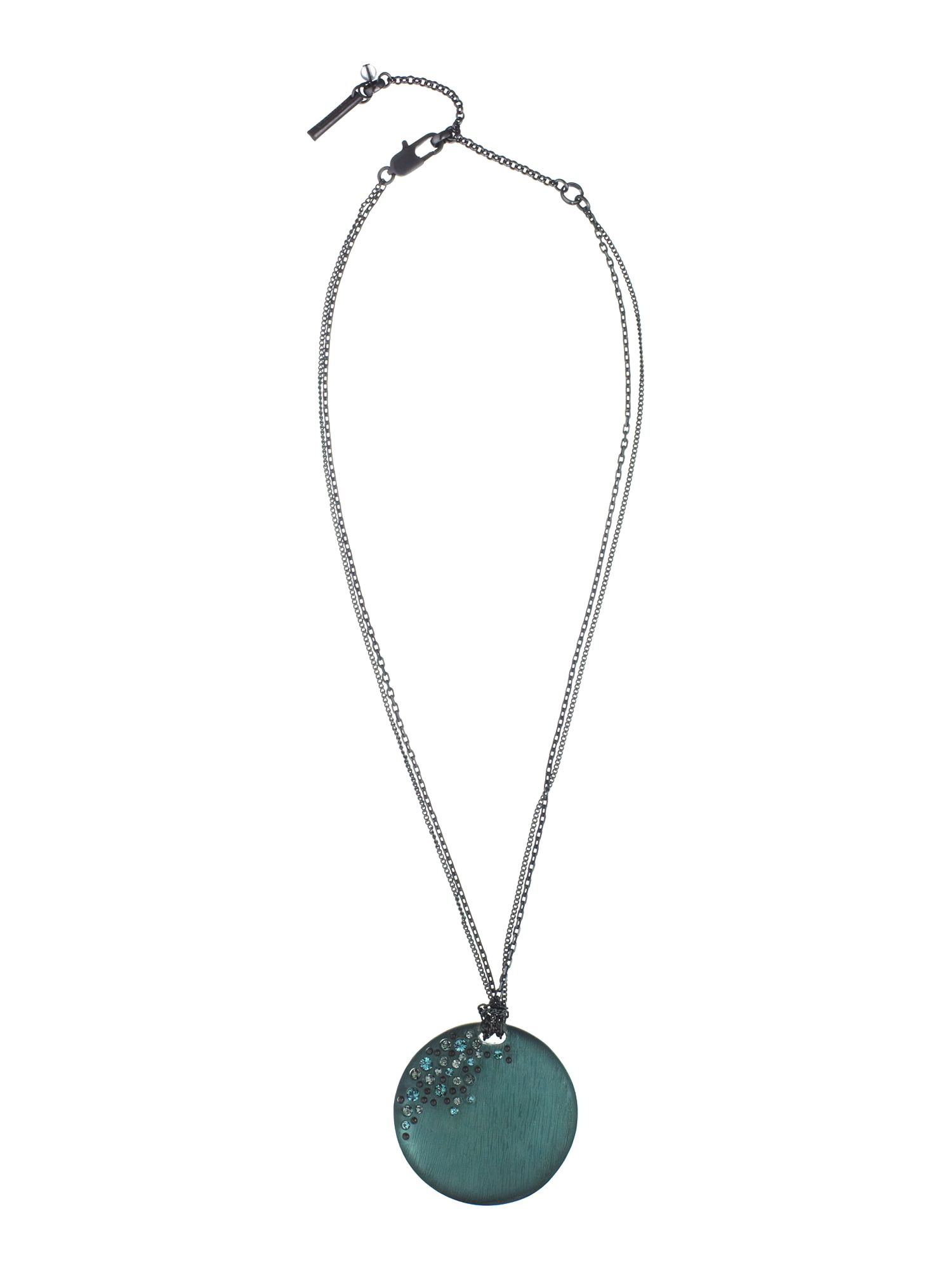 Kenneth Cole Blue stone accent circle disk pendant necklace