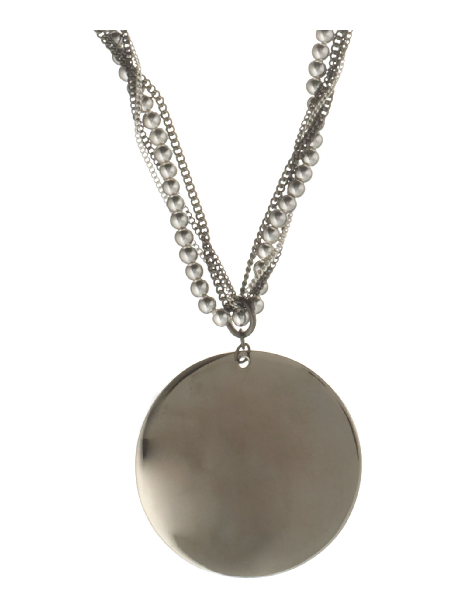 Kenneth Cole Silver disc pendant on beaded chain necklace