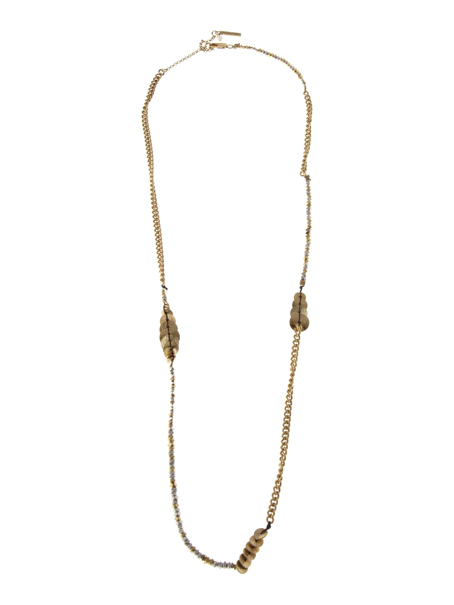 Kenneth Cole Gold single strand disc necklace