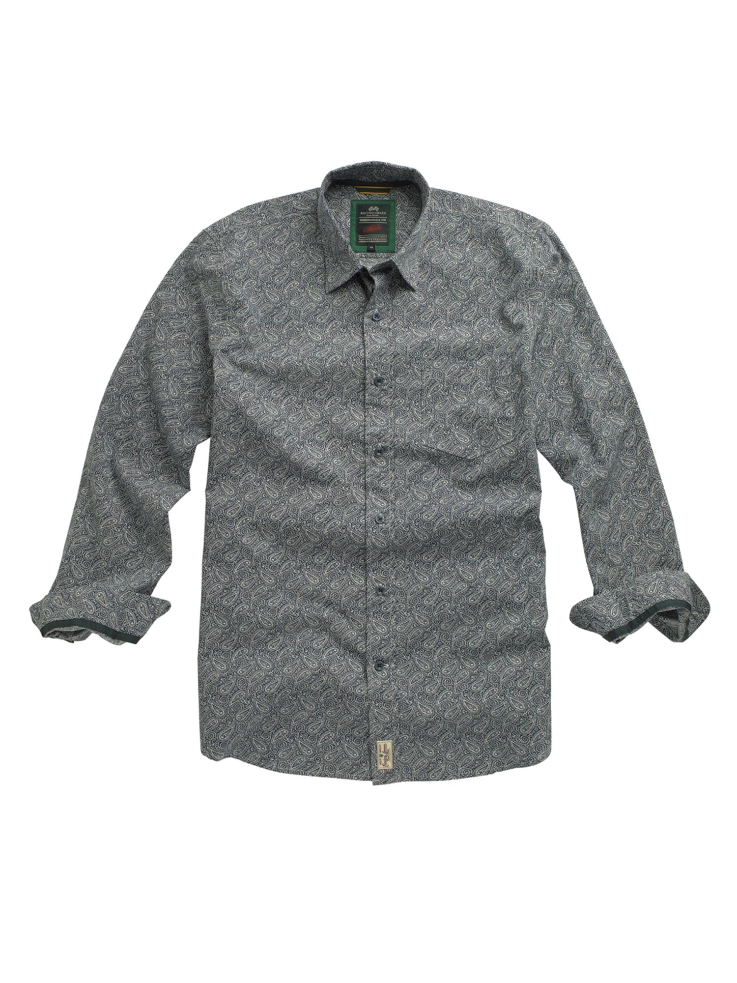 Racing Green Laundered Paisley Print-shirt - Navy S,S,M,M product image