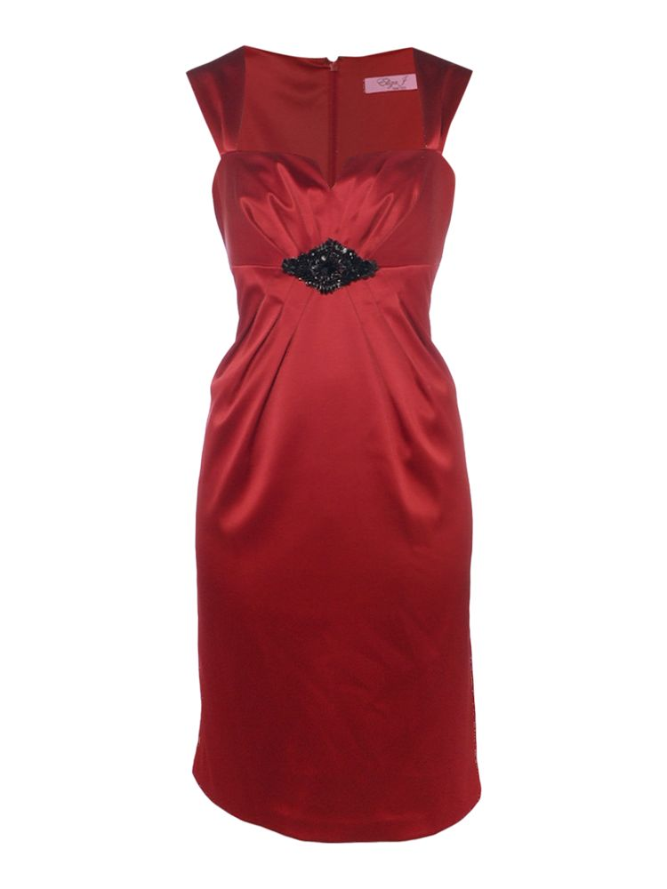 Eliza-J-Stretch-Satin-Empire-Beaded-Dress-In-Red
