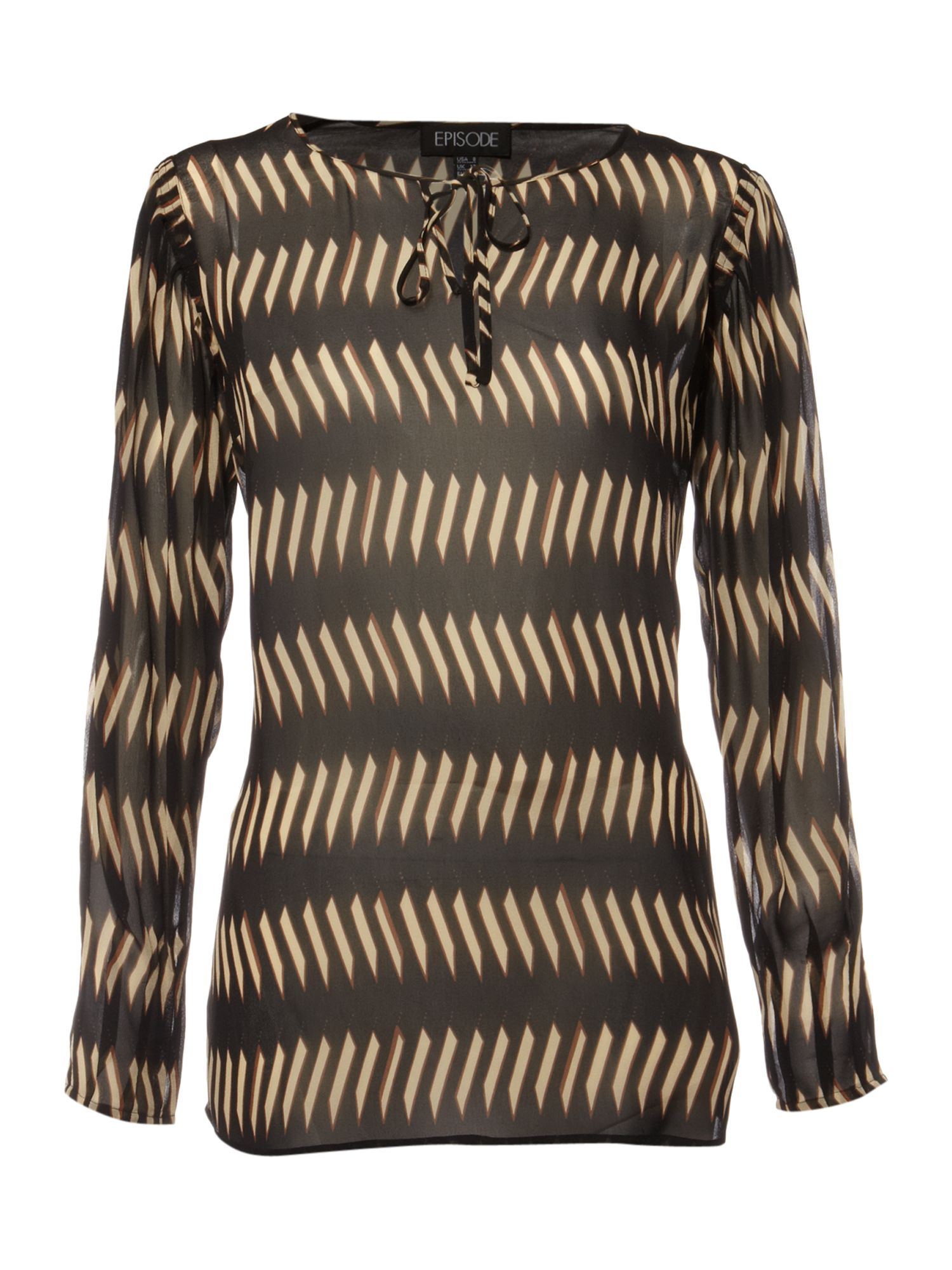 Episode Silk ikat tie tunic blouse - Black product image
