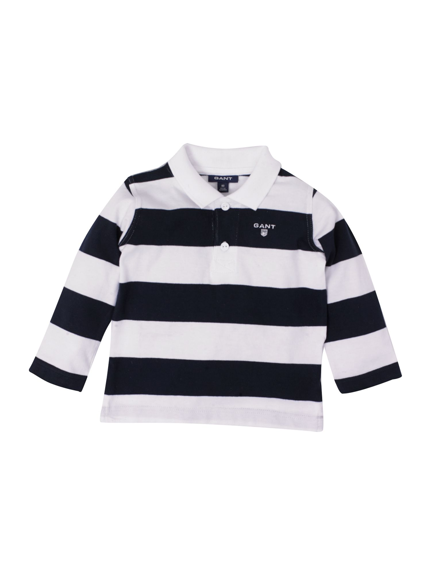 Long-sleeved block striped rugby shirt,
