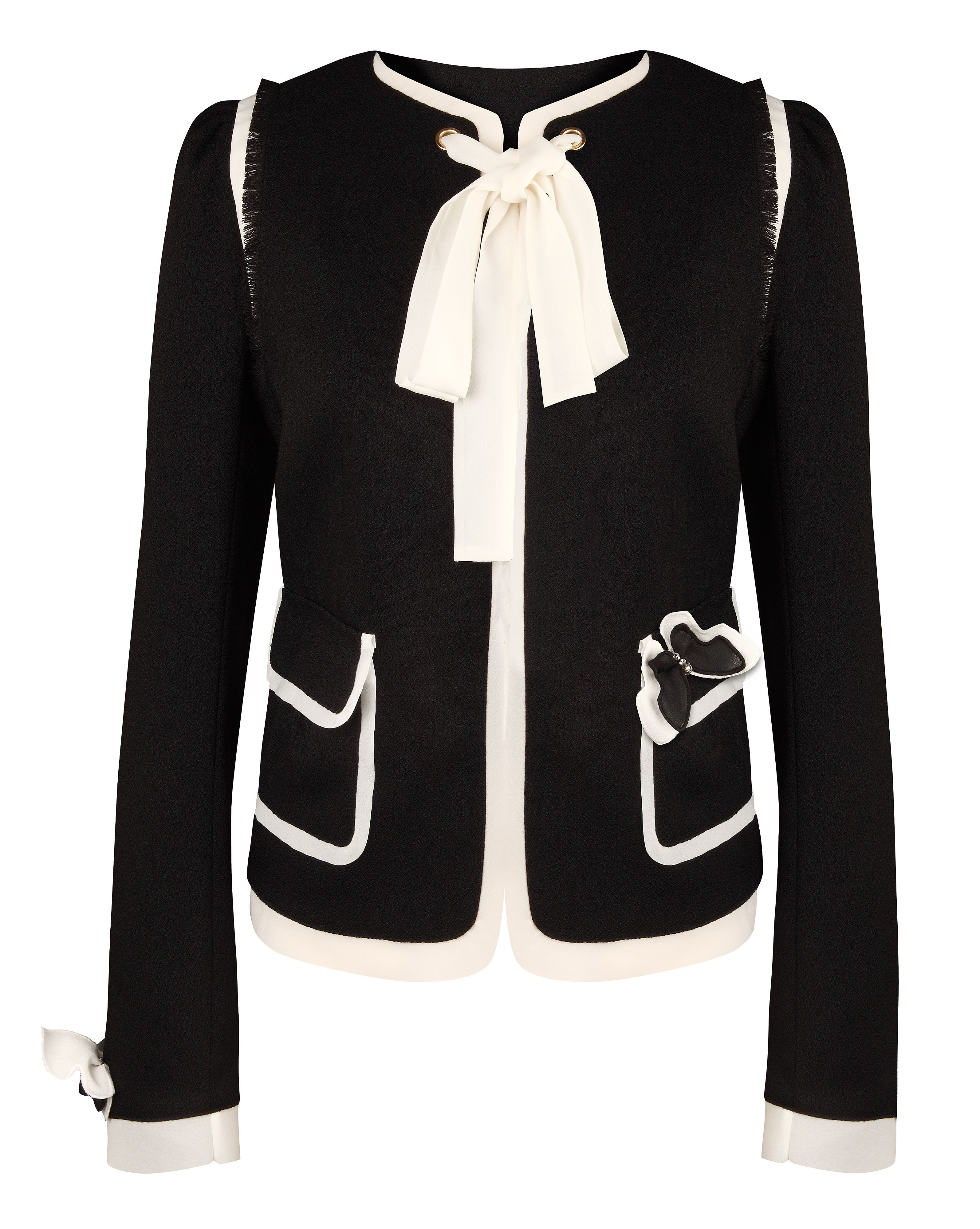 Tie neck jacket with butterfly brooch Black