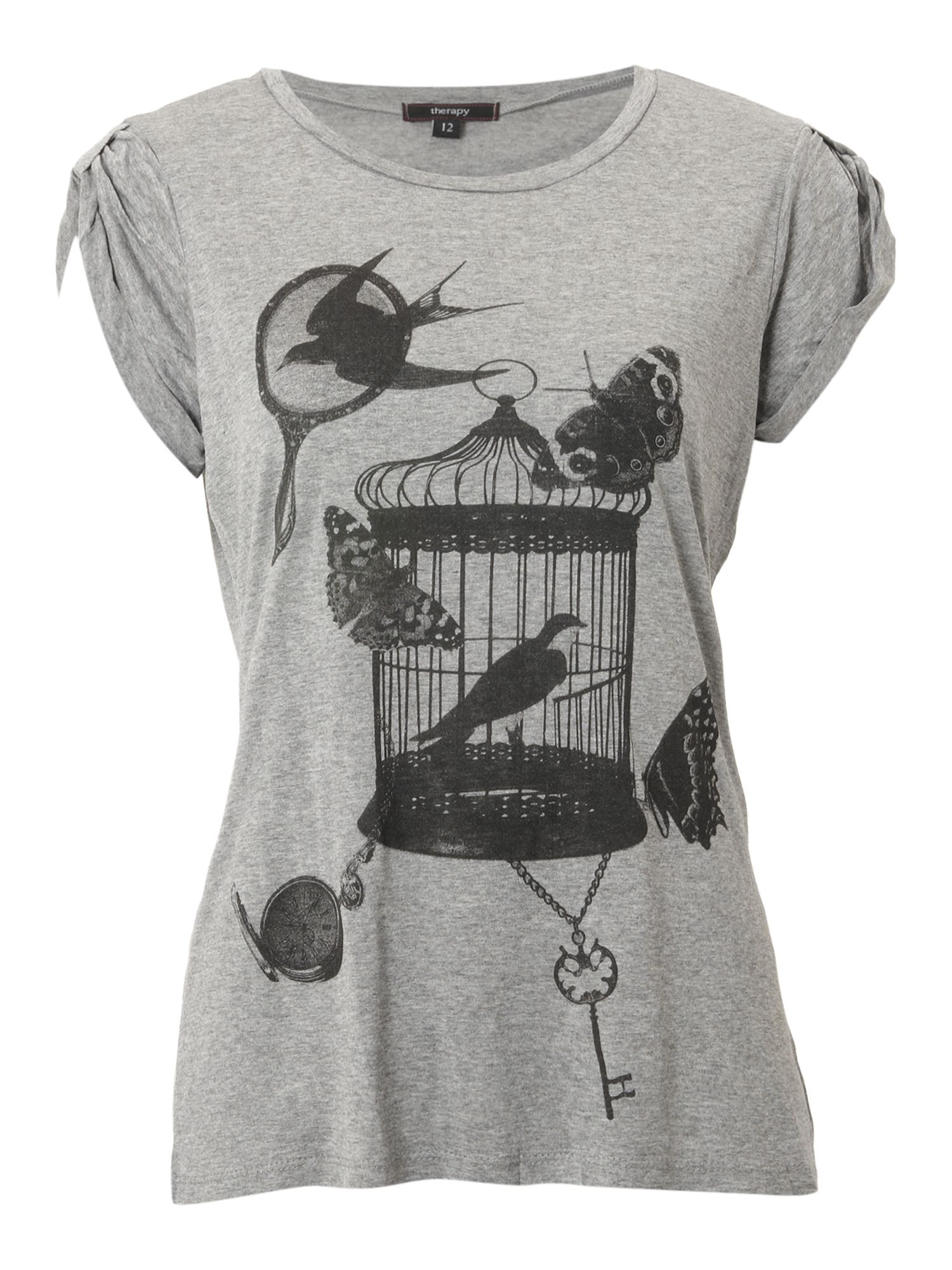 Therapy Bird cage print t-shirt - Grey 6,6,6,6 product image