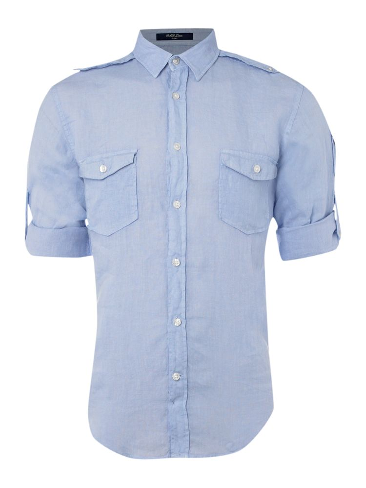 Gant-Linen-Roll-Sleeve-Shirt-In-Sky-Blue-From-House-of-Fraser