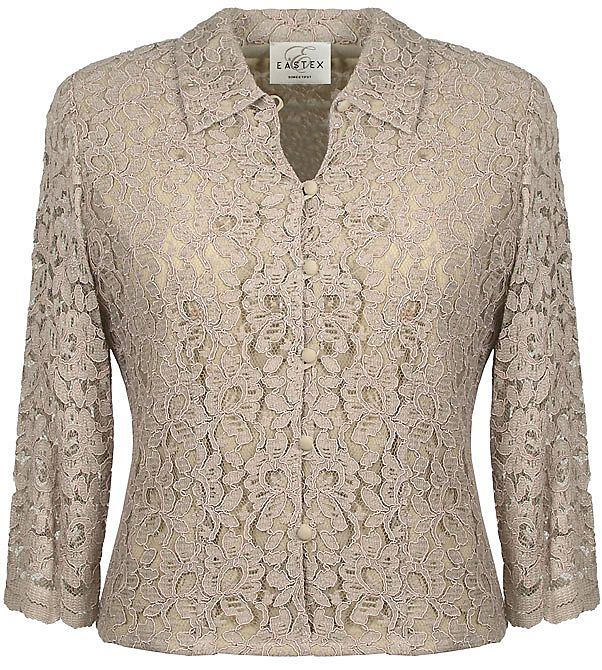 Eastex 3/4 sleeve beaded lace blouse Gold product image