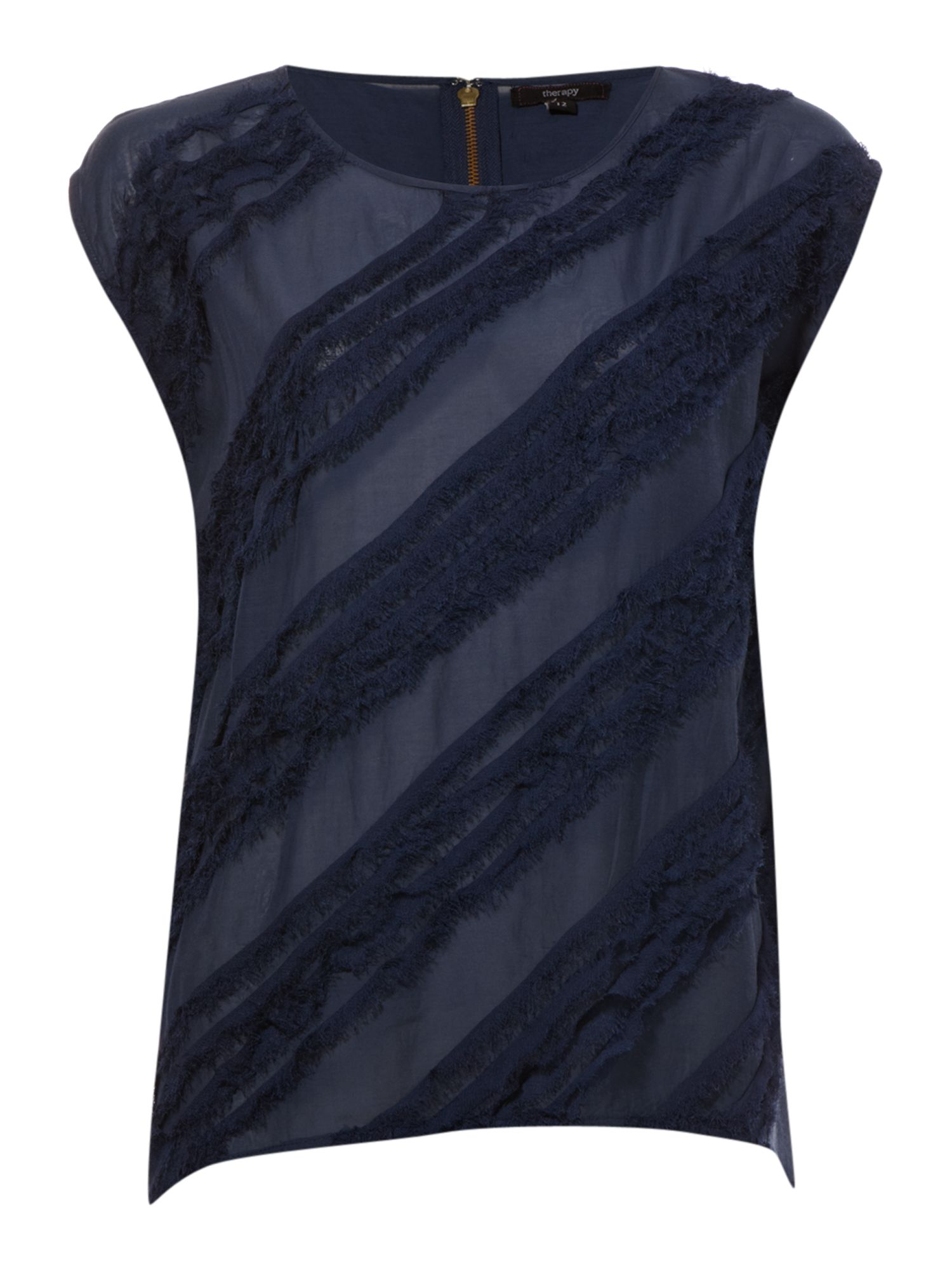 Therapy Shredded stripe blouse - Navy product image