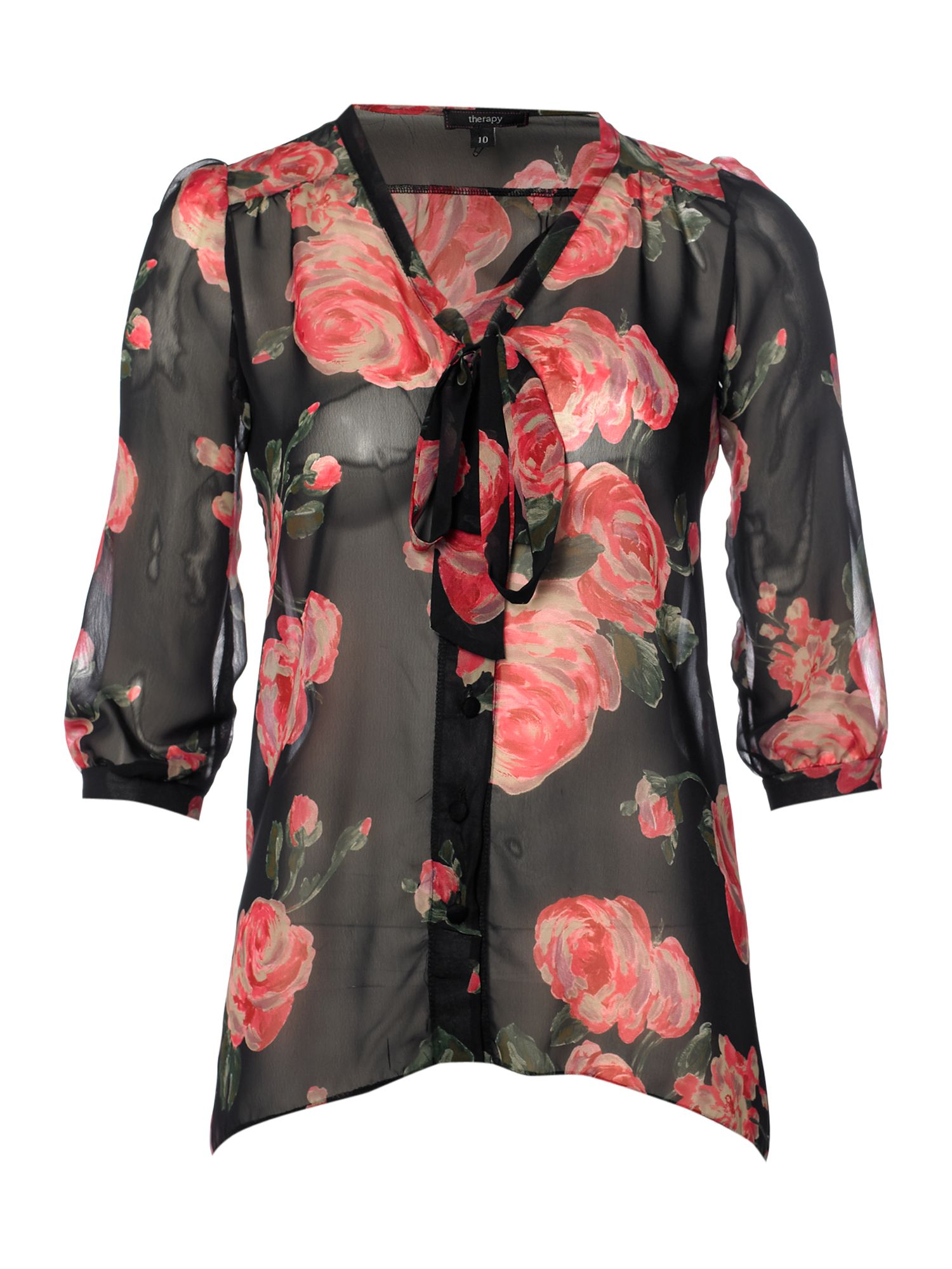 Therapy Womens Therapy Rose pussybow blouse, Black product image