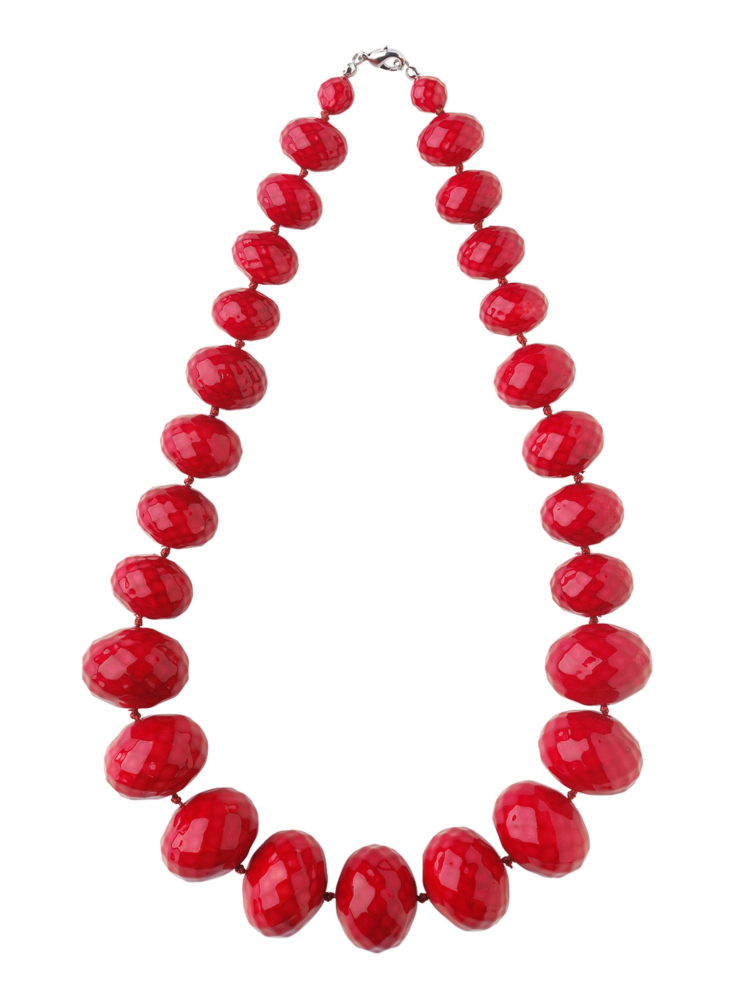 Phase Eight Textured bead necklace, Red