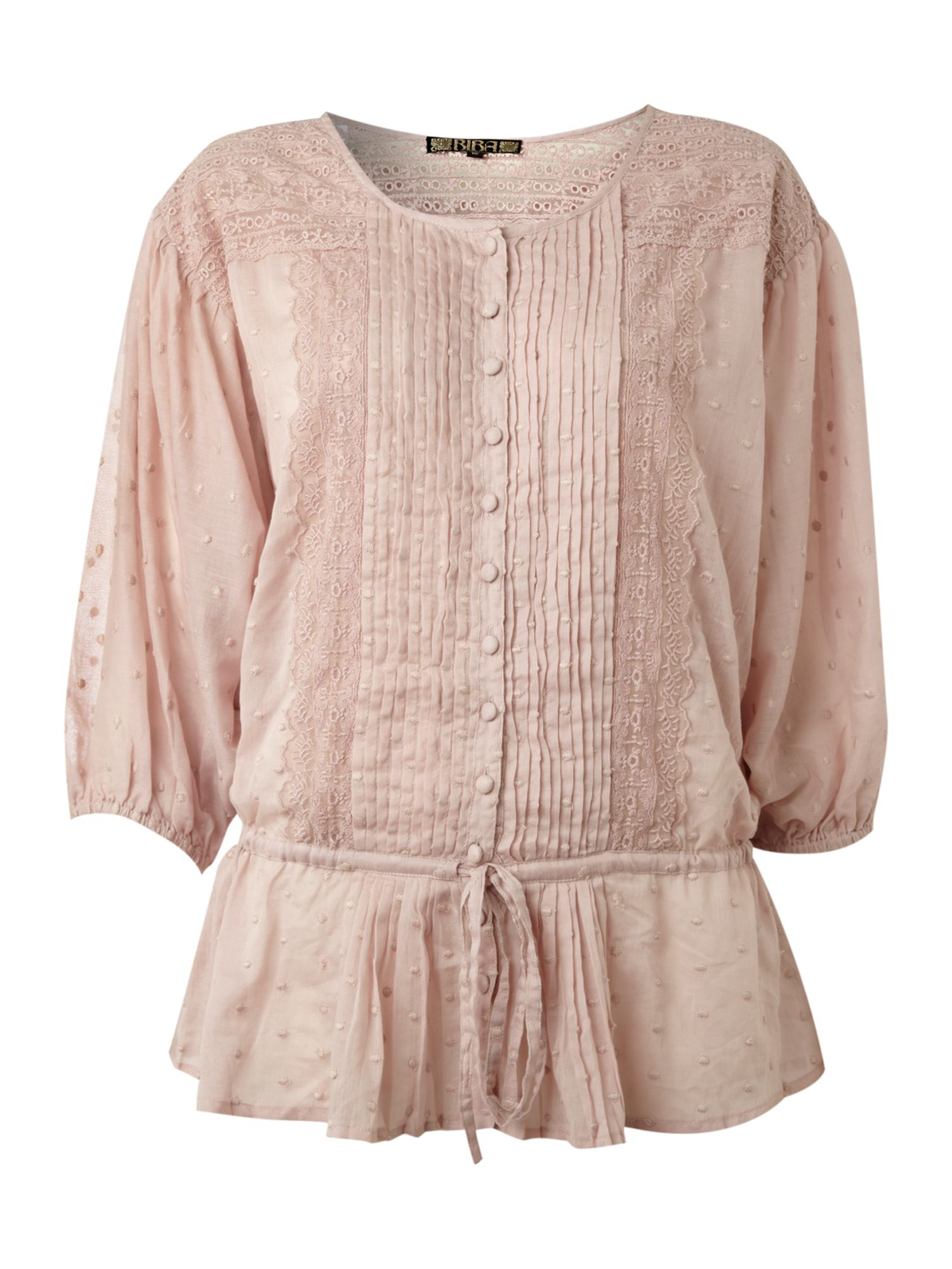 Womens Biba Lace and Broderie blouse, Pink