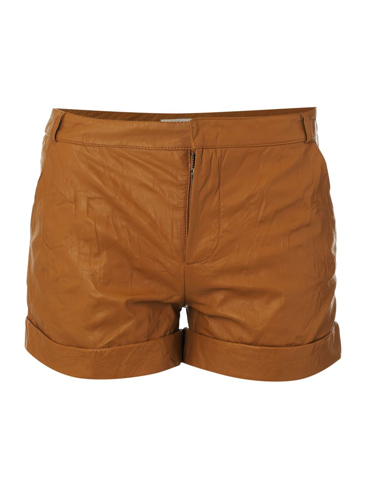 Label-Lab-Leather-Shorts-In-Camel