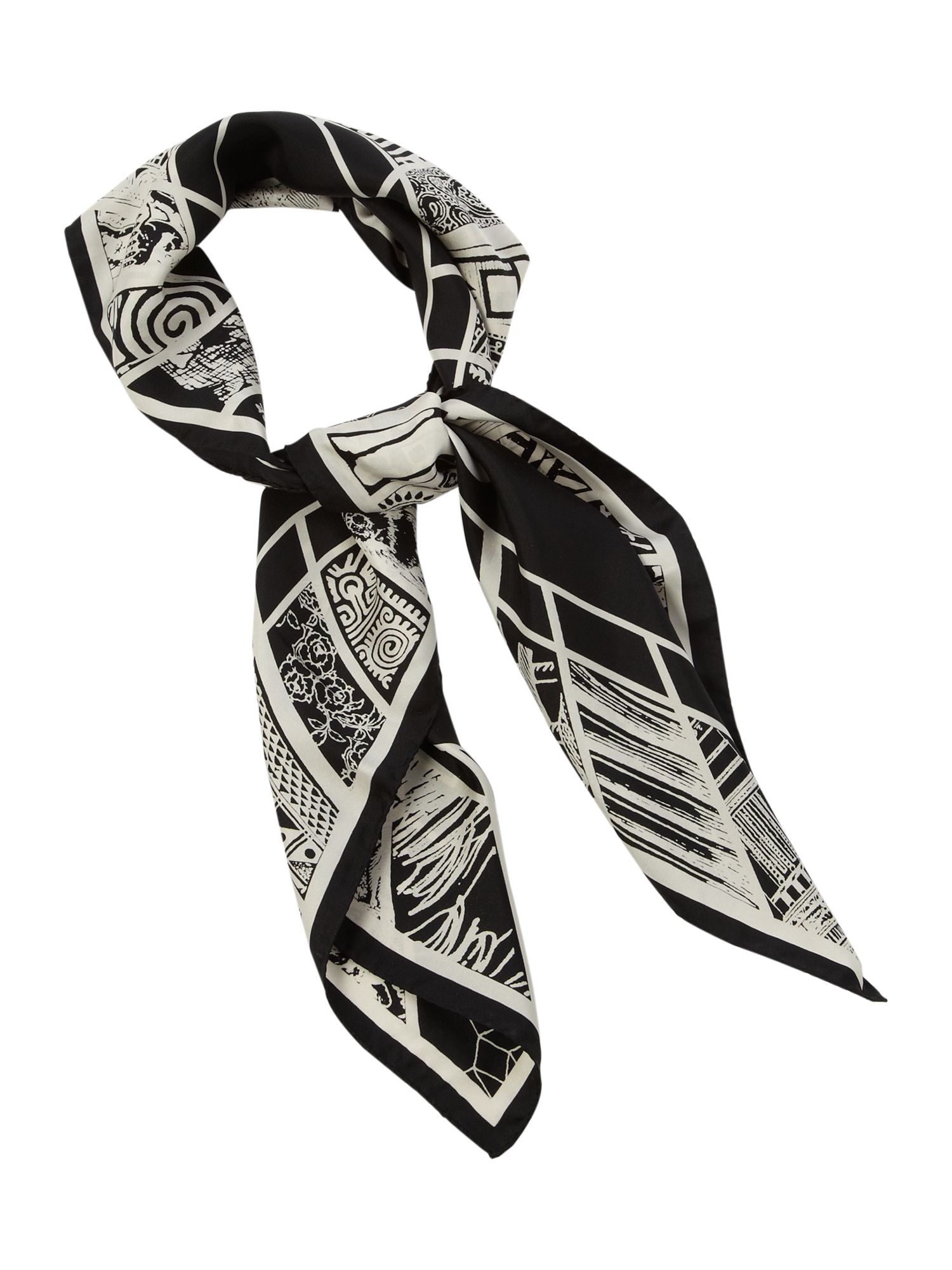 Square monochrome clock scarf
