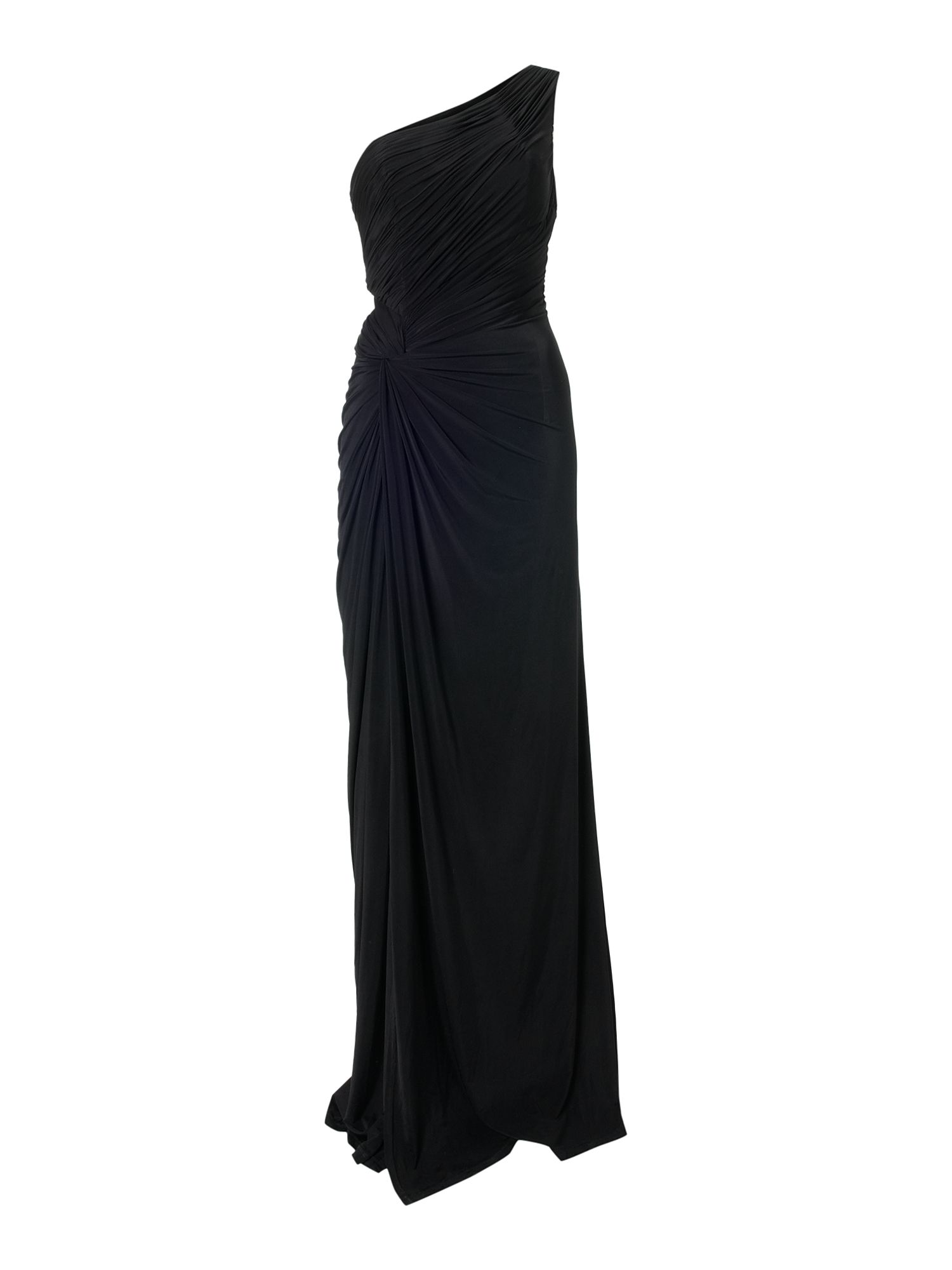 Asymmetric one shoulder maxi dress Black