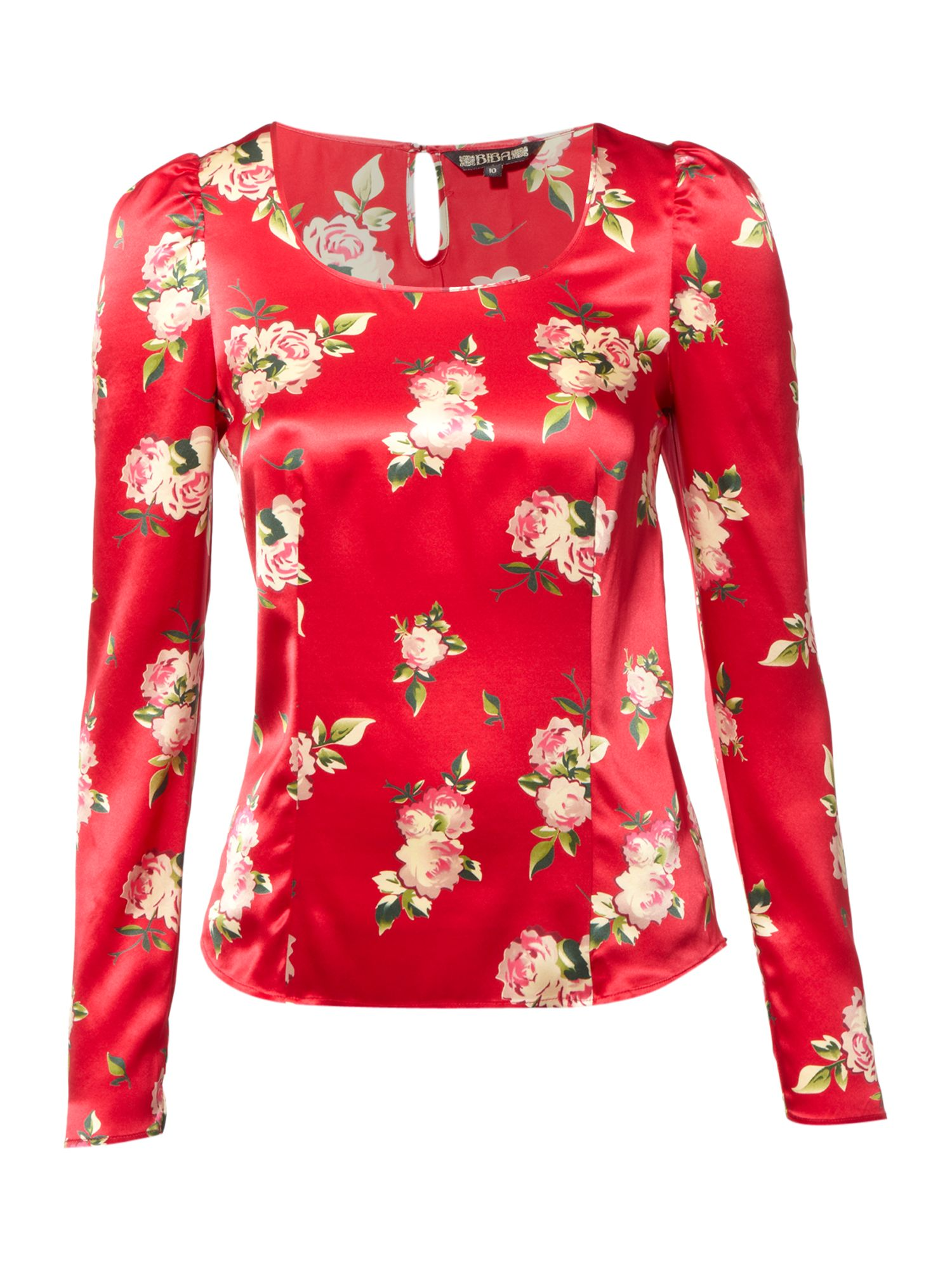 Small rose print silk scoop neck blouse - Red