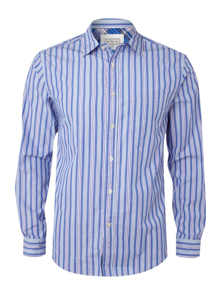 Howick-Ls-Devon-Stripe-Shirt-In-Navy