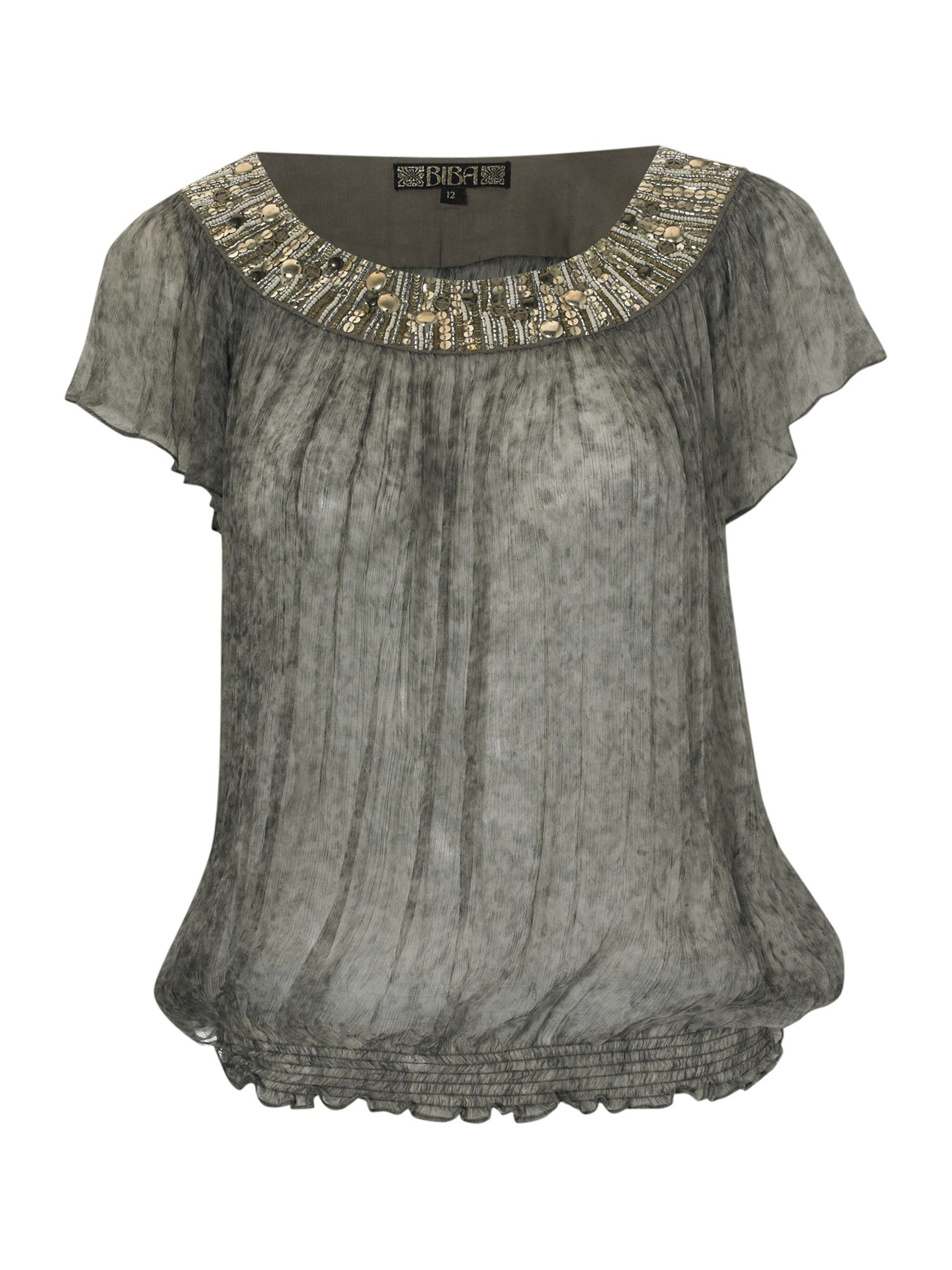 Smudge embellished smock blouse - Grey