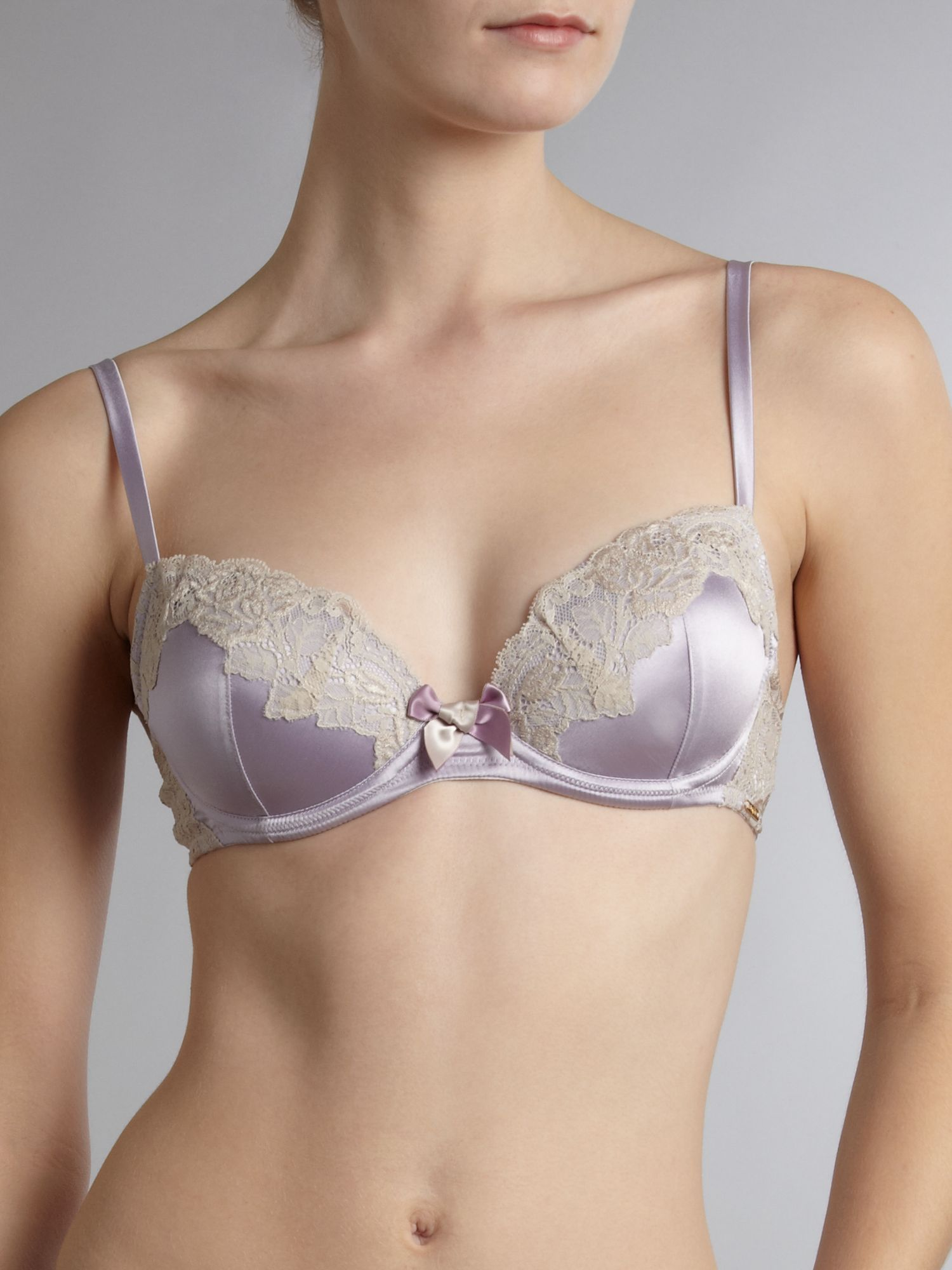 Silk & lace padded balcony bra