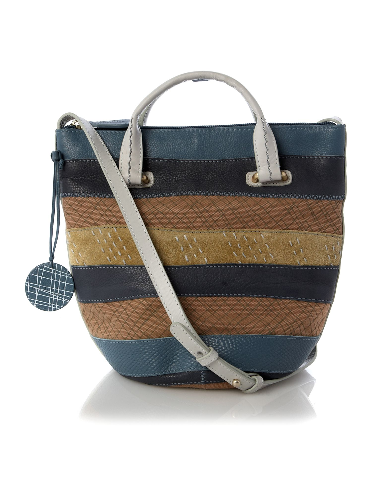 Putney stripe canvas crossbody bag