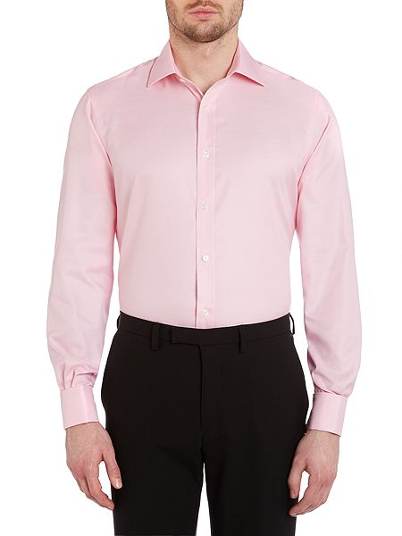 tm lewin plain non iron slim fit shirt pink house of fraser