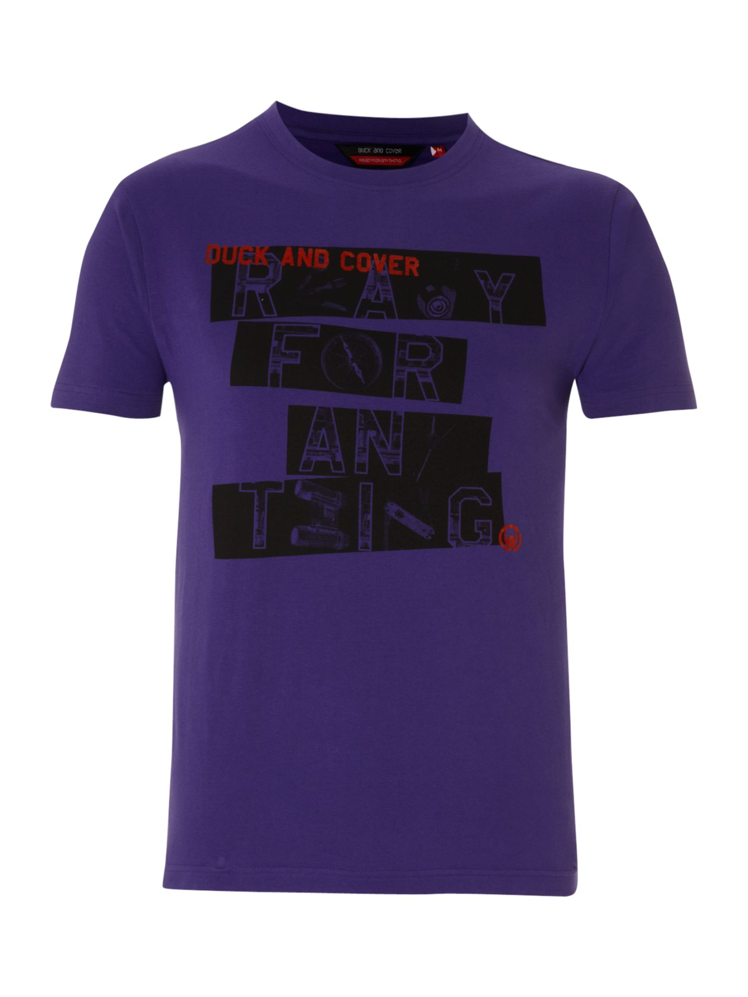 Duck and Cover Ready for anything logo printed T-shirt - Purple