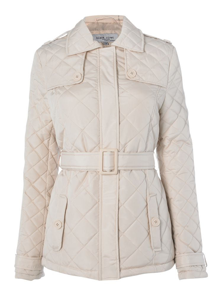 Black-Rivet-Belted-Quilted-Coat-In-Stone