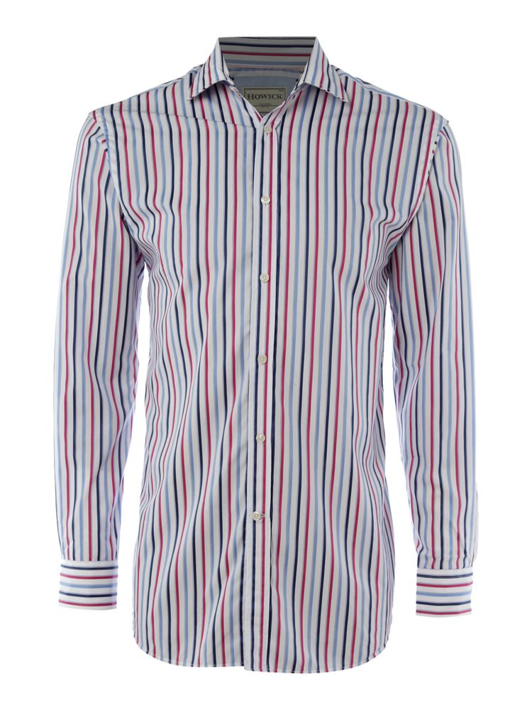 Howick-Tailored-Three-Striped-Shirt-In-Pink