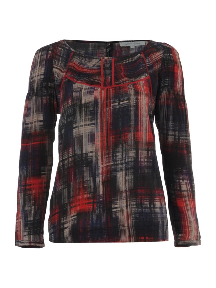 Dickins-Jones-Silk-Check-Printed-Top-In-Red