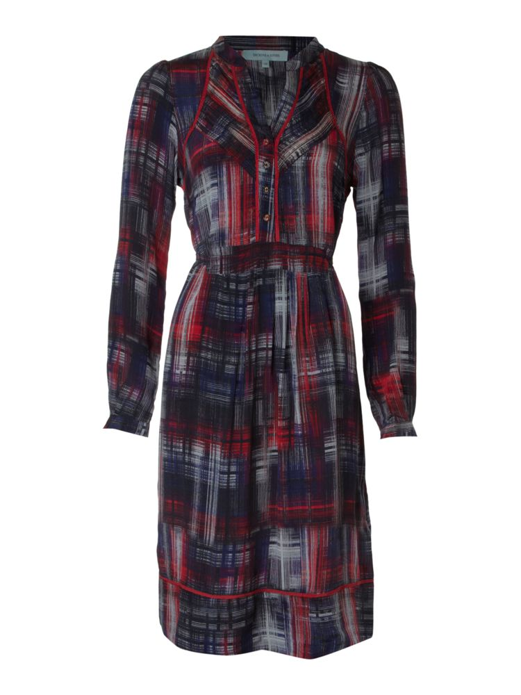 Dickins-Jones-Dress-Silk-Printed-Check-In-Red