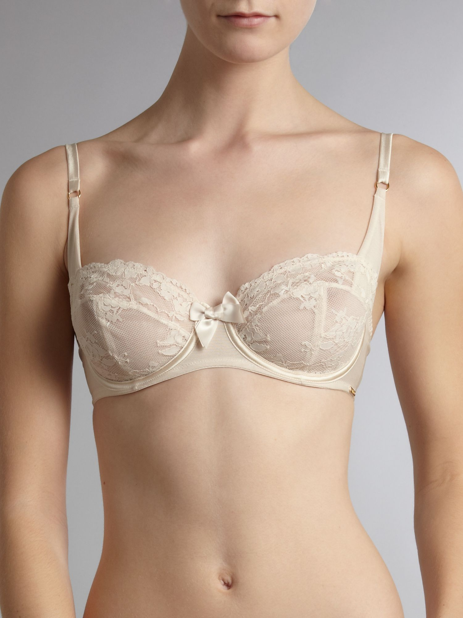 Lace underwired balcony bra