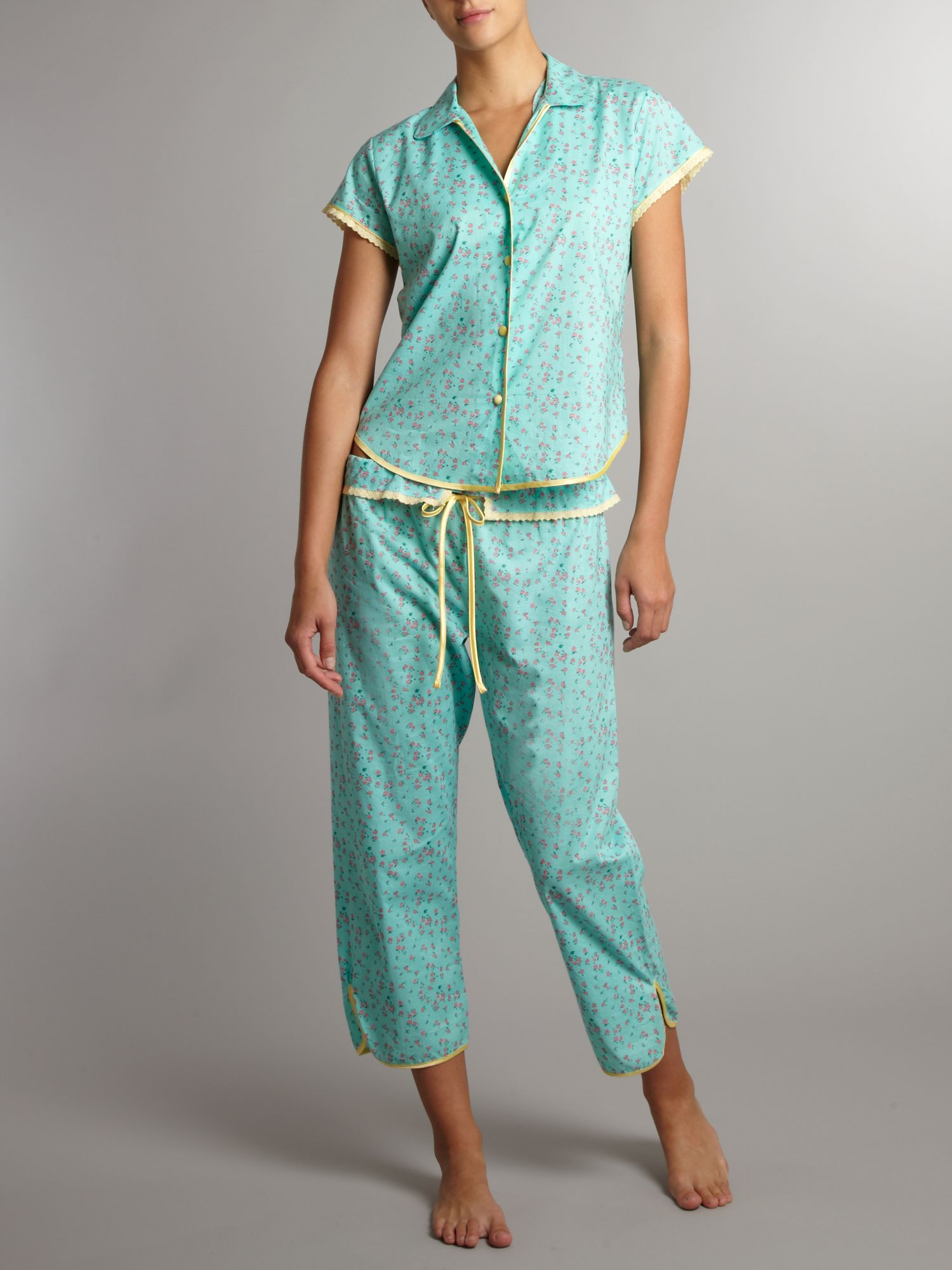 Lemonie green print PJ top