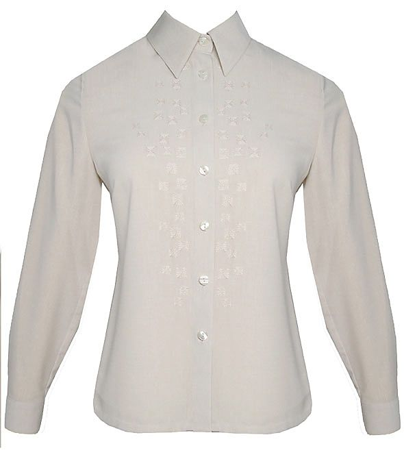 Eastex Long sleeve embellished square blouse Stone product image